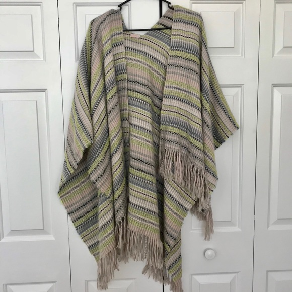 Ladies Women/'s Knitted Fine Aztec Tassel Poncho Wrap Cardigan Shawl 12-26